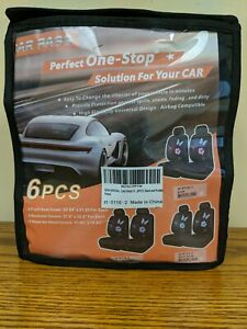 Car Pass 6pc Car Seat Covers Black W Purple Butterflies Flowers