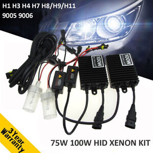 75w 100w Car Hid Xenon Headlight Bulb Ballast Kit H1 H3 H4 H7 H8 9 11 9005 9006