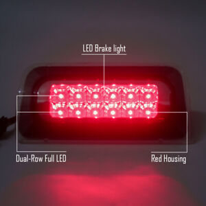 For 1994 2003 Chevy S10 gmc Sonoma Red Led 3rd Third Tail Brake Light Lamp Clear