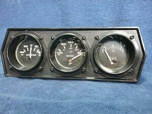 3 2 Gauges Cluster W Bezel Amperes Water Temp Fuel Stewart Warner Sw