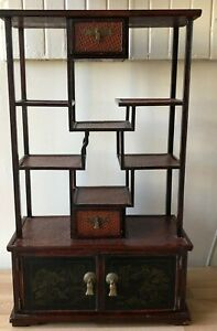 Lovely Antique Chinese Multilevel Shelf Signed Landscape Scenes