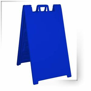 Plasticade Signicade Folding Sidewalk Double Sided Sign Stand Blue open Box