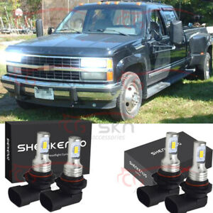For Chevy Pickup Truck C1500 C2500 C3500 1990 2000 4x Led Headlight Bulbs Kit