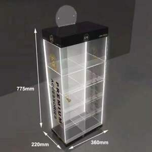 Clear Acrylic Counter Display Case cabinet With 4 Led Light Multi Purpose