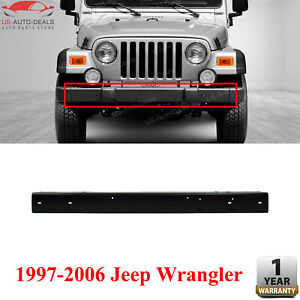 Front Bumper Steel Black W Guard Holes For 1997 2006 Jeep Wrangler