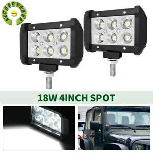 2pc 4inch 18w Led Work Light Bar 4wd Offroad Spot Pods Fog Atv Suv Driving Lamp
