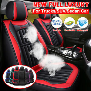 Luxury Universal Car Front Seat Covers Protector Breathable Pu Leather Cushion