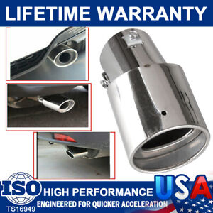 Car Chrome Stainless Steel Rear Round Exhaust Pipes Tail Muffler Tip Accessories