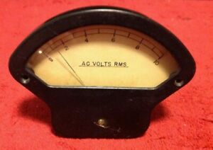 Vintage Rms Ac Volts Indicator Industrial Panel Gauge 0 10 Glass Face Steam Punk
