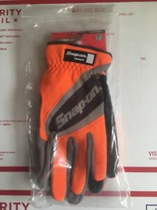 Snap on Large Orange Work Gloves Touch Screen Compatible