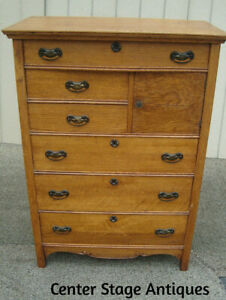 61155 Antique Victorian Oak High Chest Dresser