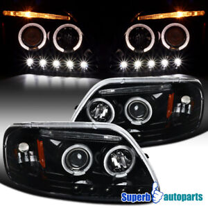 For 97 03 Ford F150 Expedition Polished Black Dual Led Halo Projector Headlights