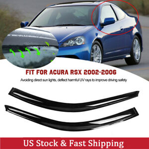 Pair Of Window Visors Vent Rain Guard Fit For Acura Rsx 2002 2006 Brand New