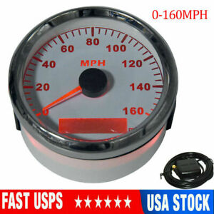 Waterproof 85mm White Gps Speedometer 160mph For Cars Truck Motorcycle Usa Stock