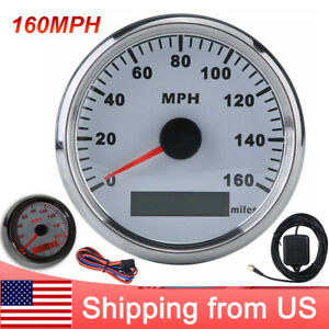 85mm White Gps Speedometer 0 160mph Gauge For Boat Car Truck Motorcycle Us Stock