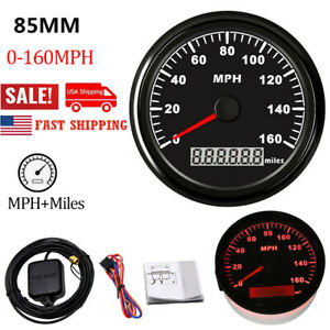 85mm Black Gps Speedometer Gauge 160mph For Motorcycle Car Marine Boat Us Stock