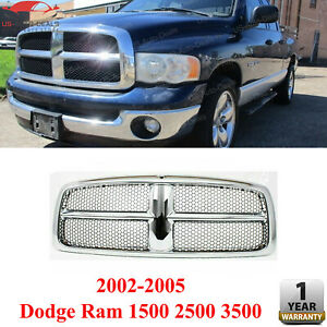 Front Chrome Grille Shell And Insert For 2002 2005 Dodge Ram 1500 2500 3500