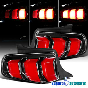 For 2010 2012 Ford Mustang Tail Lights Sequential Signal Lamps Shiny Black