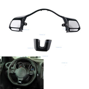 Steering Wheel Switch Button Frame Trim Glossy Black Fit For Vw Golf Mk6 Gti R20