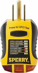Sperry Instruments Gfi6302 Gfci Outlet Receptacle Tester Standard 120v Ac Out