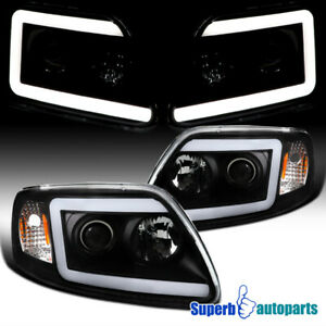 For 1997 2003 Ford F150 Expedition Led Drl Black Projector Headlights W Signal