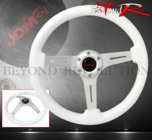 345mm Aluminum White Wood Grain Og Classic Vip Steering Wheel Horn Universal