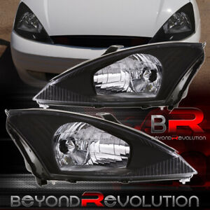 For 2000 2004 Ford Focus Zx4 Se Lx Black Headlights Clear Lens Lamp Assembly