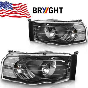 For 2002 2005 Dodge Ram 1500 2500 3500 Black Headlights Clear Corner Lamps Pair