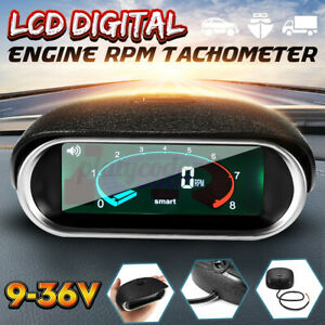 Car Universal Lcd 50 9999rpm Tachometer Digital Engine Tach Gauge 0 To 50c Us