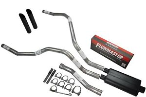 For Nissan Titan 04 06 Dual Exhaust 2 5 Inch Flowmaster 50 Black Tips