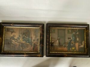Vintage Pair Of 11x14 Victorian Era Faux Painted Tortoise Shell Gilded Frames