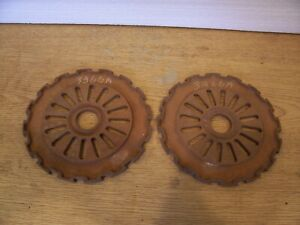 2 Vintage Cast Iron Ih Planter Plates 3366a International Harvester Lot Bb