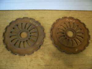 2 Vintage Cast Iron Ih Planter Plates 3236a International Harvester Lot Bb