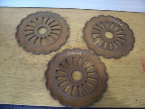 3 Vintage Cast Iron Ih Planter Plates 3547a International Harvester Lot Bb