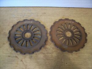 2 Vintage Cast Iron Ih Planter Plates 1978a International Harvester Lot Bb