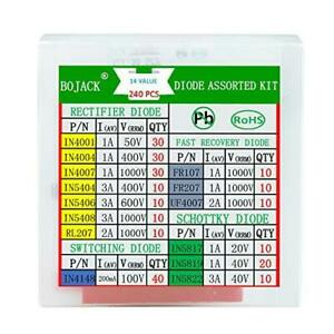 Bojack 14 Value 240 Pcs Diode Assortment Kit Contain Rectifier fast