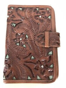 American West Brown Leather Day Planner Organizer Journal Floral Embossed Studs