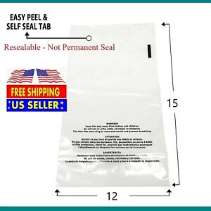 100 500 1000 12x15 Suffocation Warning Clear Plastic Self Seal Poly Bags 1 5 Mil