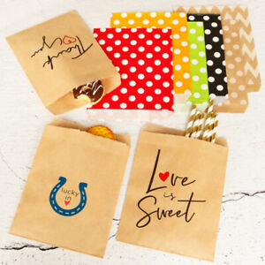 100pcs Disposable Paper Bags Wave Point Stripe Pouches Candy Food Bakery Bags