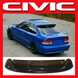 Fits 1996 2000 Civic 2dr Coupe Rear Roof Window Visor Spoiler Wing With Brackets