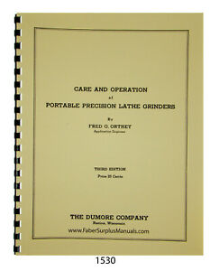 Dumore Portable Precision Lathe Grinders Care Operation Manual 1530