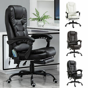 Massage Office Chair W Heating Function Reclining Back Adjustable Height