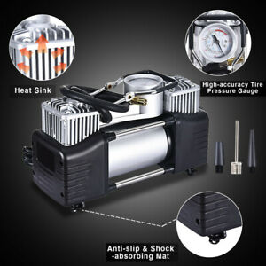 12v 150psi Double Cylinder Air Pump Compressor Heavy Duty Car Tire Inflator Us