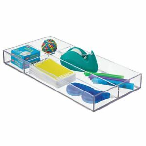 Mdesign Long Plastic Divided Office Drawer Organizer 4 Sections Clear