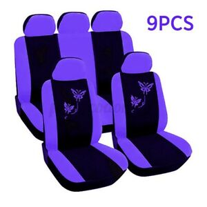 9pcs Universal Auto Car Full Set Seat Cover Protector Cushion Butterfly Printed