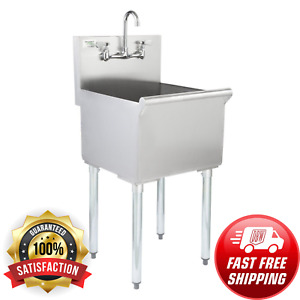 Stainless Steel Commercial Utility Sink Bowl Mop Prep 18 X 18 X 13 With Faucet