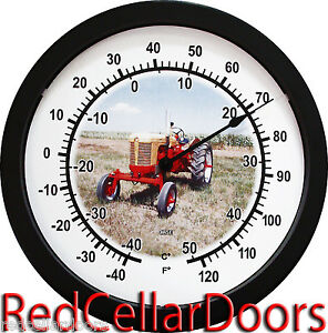 New Vintage Yellow And Red Rc Case Tractor 14 Round Wall Thermometer New