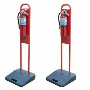 Lot Of 2 portable Fire Extinguisher Stands W 2 new 10lb Abc Fire Extinguishers
