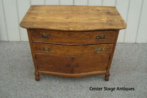 61143 Antique Victorian Oak Wash Stand Dresser Chest