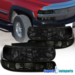 For 1999 2002 Silverado 1500 2000 2006 Tahoe Suburban Smoke Head Bumper Lights